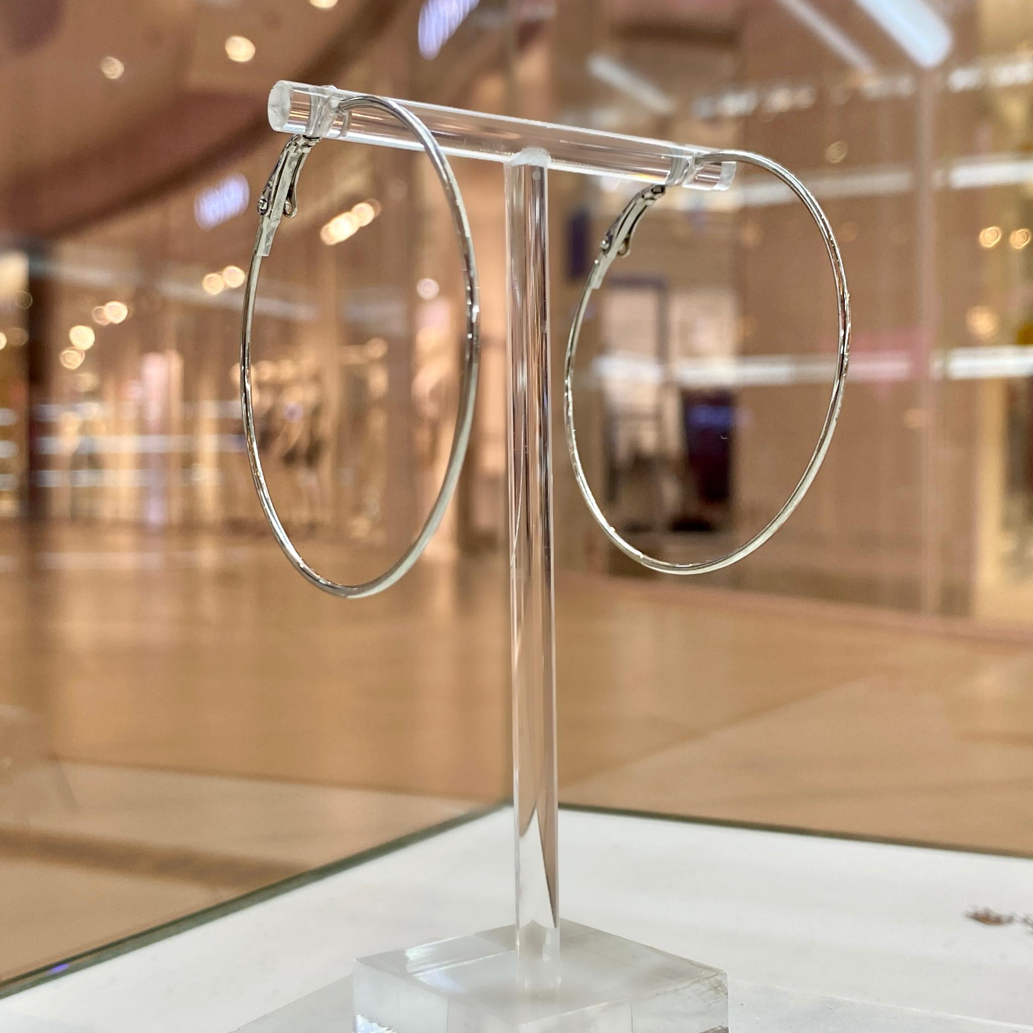 Серьги-конго тонкие, диаметр 5см (серебристый)