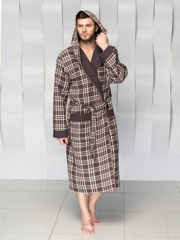 Вафельный мужской халат David с капюшоном коричневый