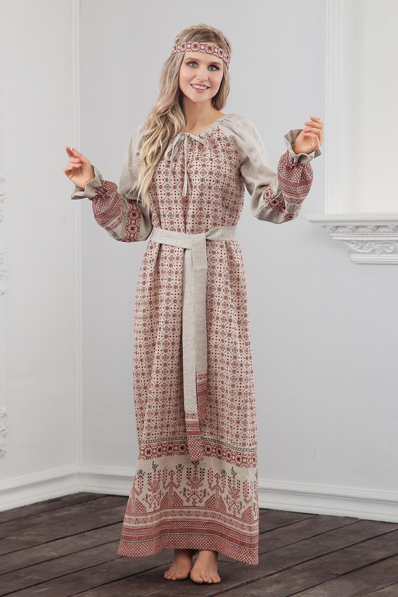 Платье Берегиня на небеленом льне, с мощным обережным орнаментом