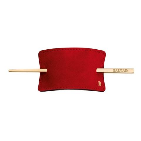 Balmain Заколка из красной замши Genuine Suede Hair Barrette Red