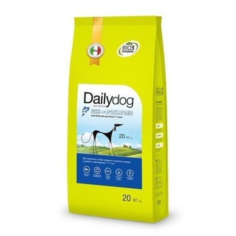 Сухой корм Dailydog Adult Medium Large Breed для собак средних и крупных пород с рыбой и картофелемм, 20 кг.