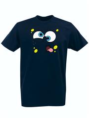 Футболка с принтом мультфильма Губка Боб Квадратные Штаны/ Спанч Боб (SpongeBob SquarePants) темно-синяя 0012