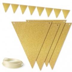 Гирлянда флажки, Золото, с блестками, 300 см, 1 шт.