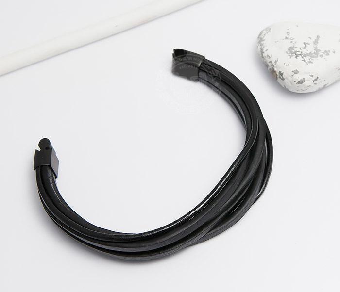 BM498 Браслет из кожаных шнуров со стальной застежкой (21 см) фото 02