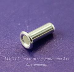 Заклепка с отверстием TierraCast 7х2,2 мм (цвет-серебро), 5 штук