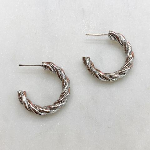 Серьги-конго перекрученные 2,5 см, ш925 (серебристый)