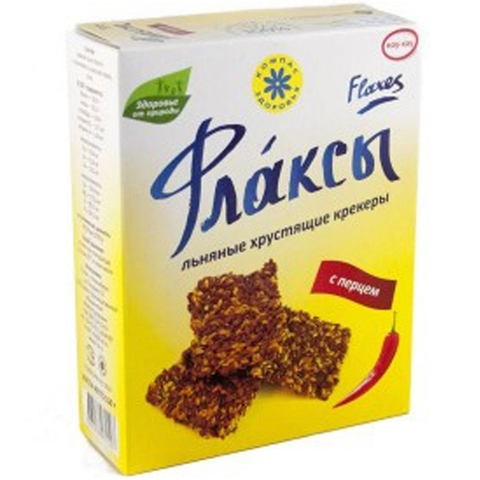 Флаксы льняные крекеры с перцем, 150 гр. (Компас Здоровья)