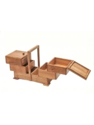 Деревянная шкатулка  из бука для рукоделия (3 этажа)