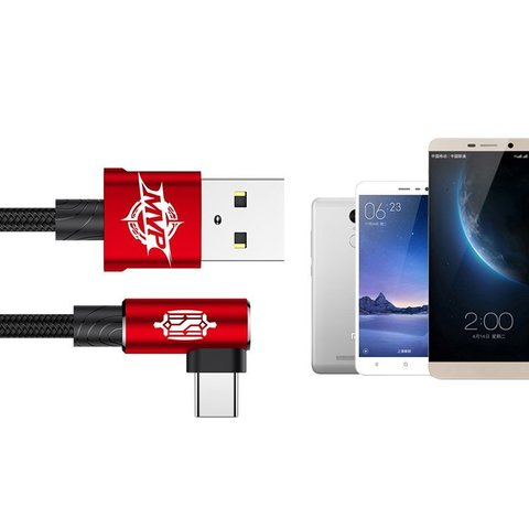 Кабель Baseus MVP Elbow Type Cable USB For Type-C 1.5A 2M Red
