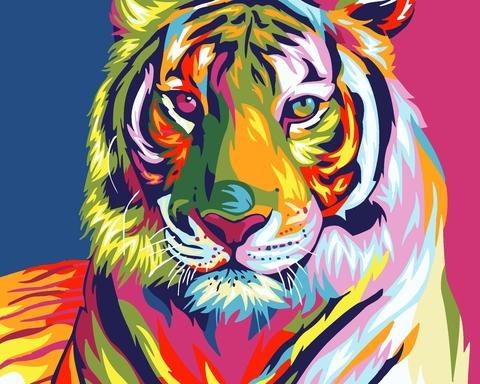 Алмазная Мозаика 20x30 Разноцветный поп-арт тигр