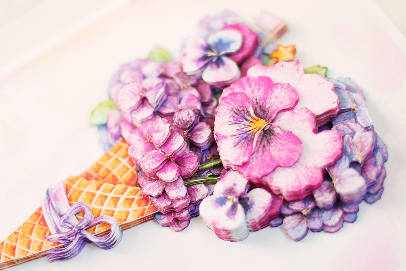 Цветочный десерт - готовая работа, вид с боку