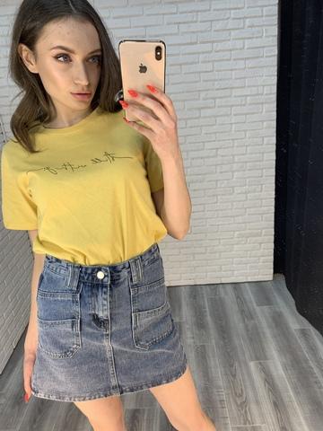джинсовая юбка с карманами спереди nadya