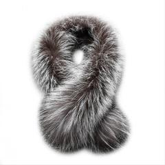 Опушка меховая на капюшон из натурального меха лисы 80 см.
