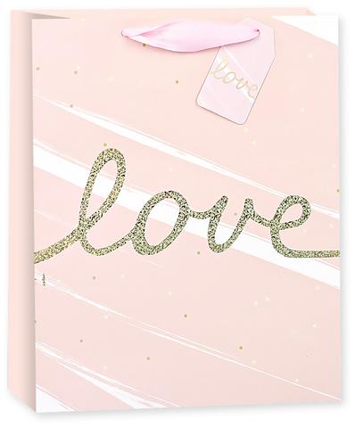 Пакет подарочный, Любовь (золотой курсив), Розовый, Голография, 42*32*12 см