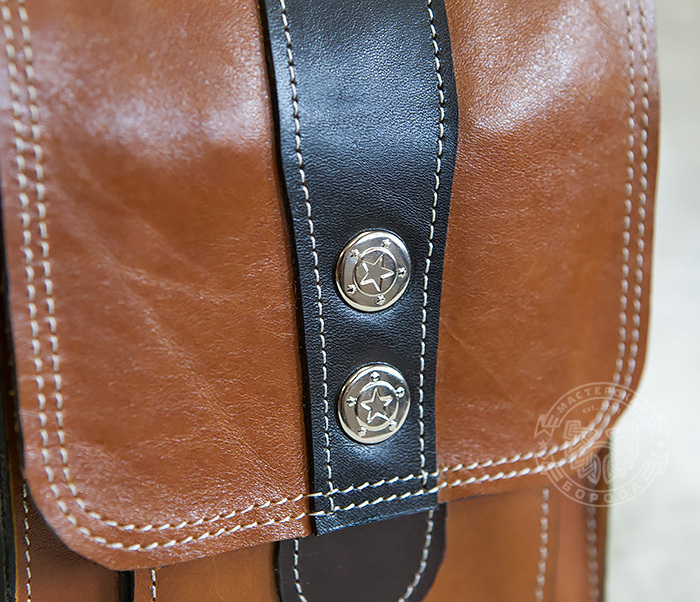 BAG379-2 Мужская кожаная сумка на пояс коричневого цвета, ручная работа фото 02