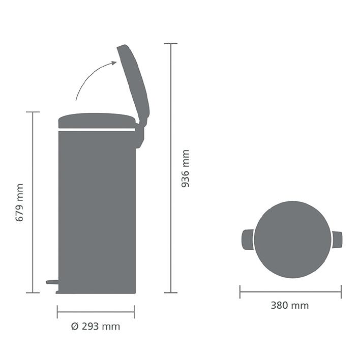 Мусорный бак newicon (30 л), Минерально-графитовый, арт. 114663 - фото 1