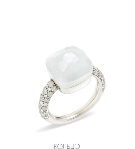 91678- Кольцо Caramel из серебра с белым, матовым кварцем (lux)