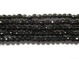 Нить Бисера из обсидиана черного, шар граненый 3мм