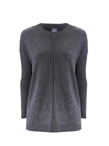 Женский серый джемпер свободного кроя из шерсти и кашемира - фото 1
