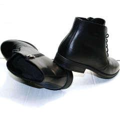 Зимние ботинки мужские классические Ikoc 3640-1 Black Leather.