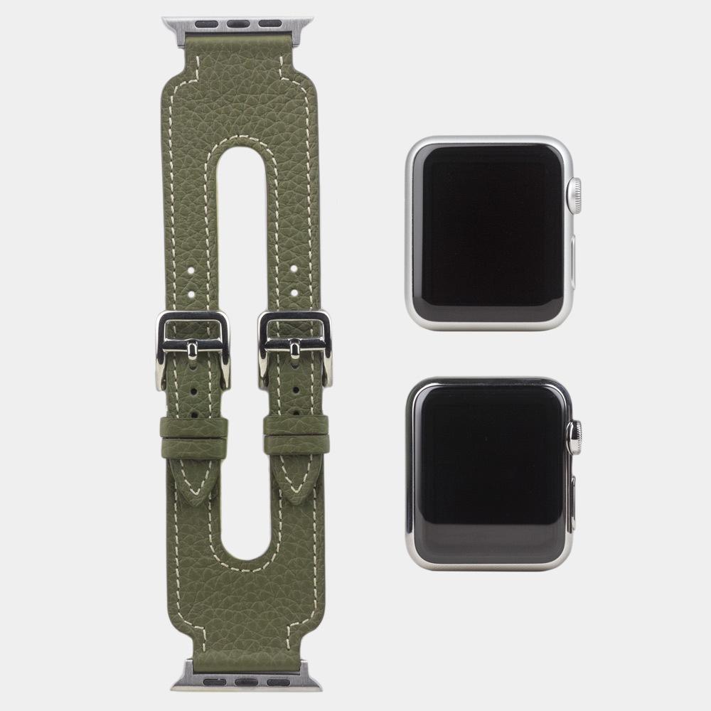 Ремешок для Apple Watch 42мм ST Double Buckle из натуральной кожи теленка, зеленого цвета