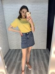 джинсовая юбка с карманами спереди купить