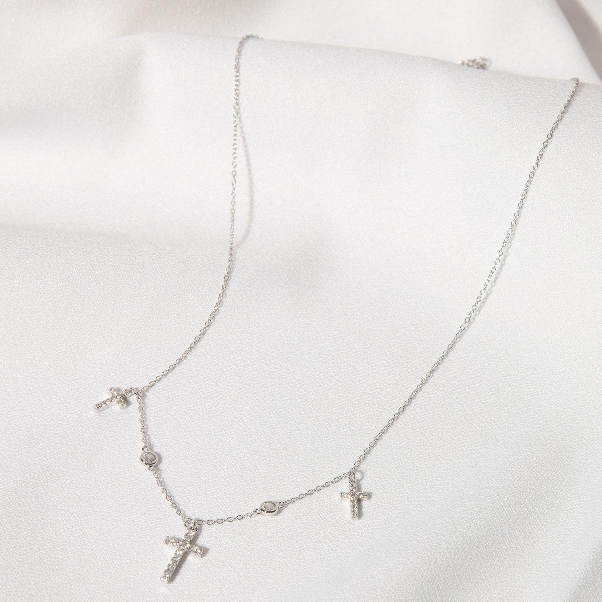 Колье c Тремя Крестиками (циркон, серебро 925)