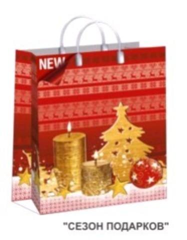 Подарочные пакеты 30х40+10 (150) из мягкого пластика И (Сезон подарков)