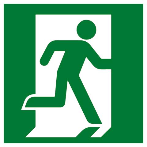 Эвакуационный знак Е 01-02 - Выход здесь правосторонний