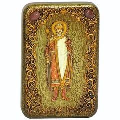 Инкрустированная Икона Святой благоверный князь Борис 15х10см на натуральном дереве, в подарочной коробке