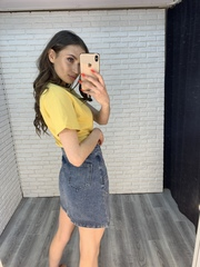 джинсовая юбка с карманами спереди недорого