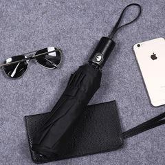 Семейный мужской облегченный премиальный зонт, с защитой от УФ, 10 спиц, кожаная ручка (черный)