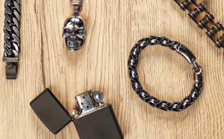 Мужской браслет из стали и кожи Zippo 2006276