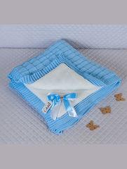 Зимний вязаный конверт одеяло Лапушка (голубой)