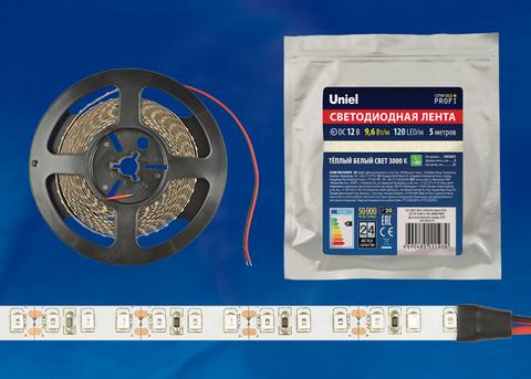 ULS-M13-2835-120LED/m-8mm-IP20-DC12V-9,6W/m-5M-3000K PROFI Гибкая светодиодная лента на самоклеящейся основе. Катушка 5м. в герметичной упаковке. Теплый белый свет(3000К). ТМ Uniel.