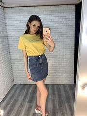 джинсовая юбка с карманами спереди оптом
