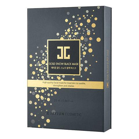 Jayjun Gold Snow Black Mask, Омолаживающий курс фольгированных масок 5шт