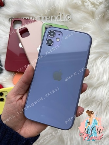 Чехол iPhone XS MAX Glass Pastel color Logo /lavender gray/