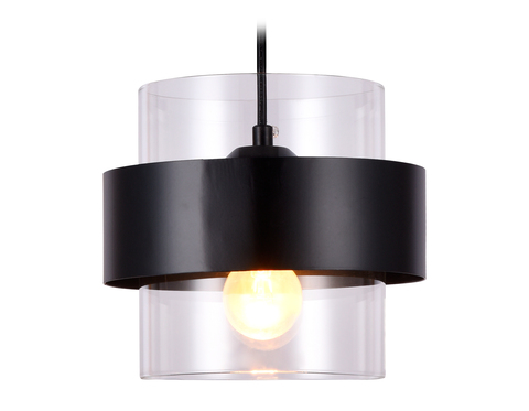 Подвесной светильник со сменной лампой TR3646 BK/CL черный/прозрачный E27 max 40W D180*950