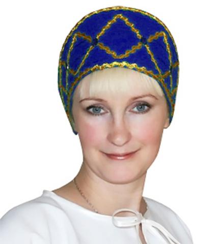 Русский народный кокошник синий