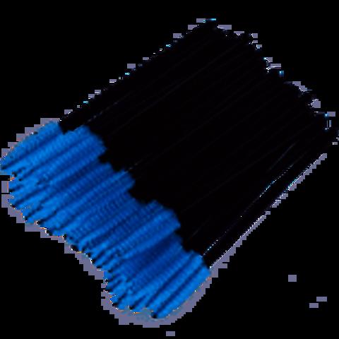 Щеточка для ресниц нейлоновая (синяя), 50 шт.