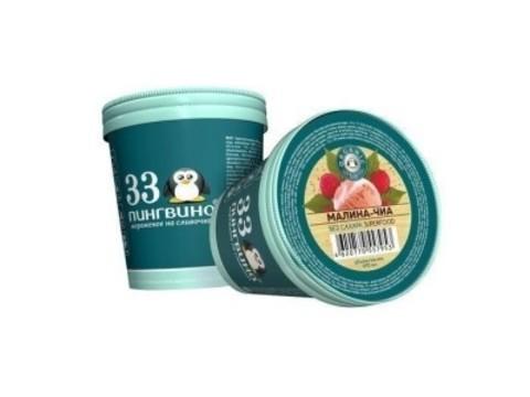 Мороженое Малина-Чиа б/сах 490мл ведро 33 пингвина