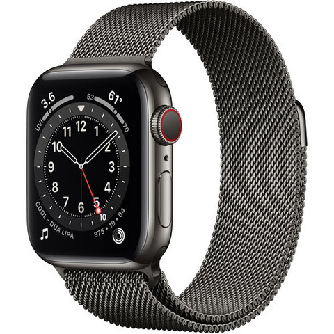 Умные часы Apple Watch Series 6 GPS + Cellular 40мм Stainless Steel Case with Milanese Loop (Графит) (MG2U3)