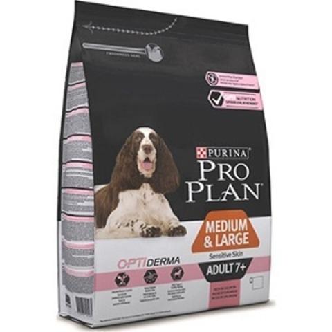 Pro Plan Optiderma сухой корм для собак средних и крупных пород старше 7 лет с чувствительной кожей с лососем