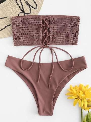 купальник бандо кофейный коричневый на шнуровке Rosy Finch 2