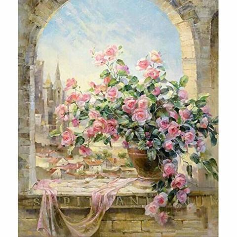 Алмазная Мозаика 20x30 Букет розовых роз на фоне города