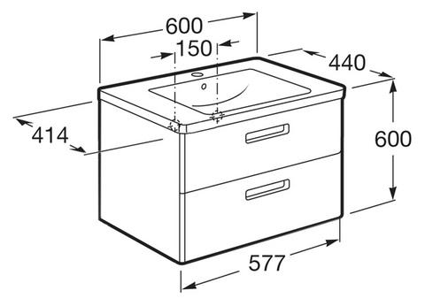 Мебель для ванной  Roca The Gap 60x41  схема