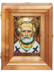 Подарочная икона Святитель Николай, архиепископ Мир Ликийский (Мирликийский), чудотворец с нимбом из сусального золота 15х10см в березовом киоте