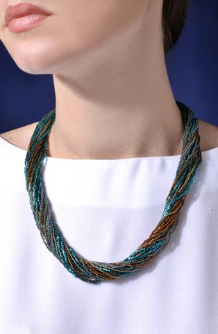 Ожерелье из венецианского бисера, 24 нити, янтарно-зеленое