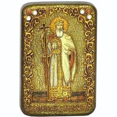 Инкрустированная Икона Святой равноапостольный князь Владимир 15х10см на натуральном дереве, в подарочной коробке